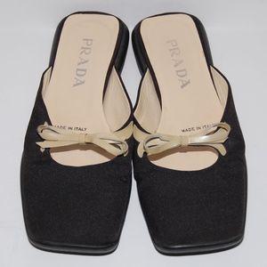 Prada square toe bow slip on sandals mules